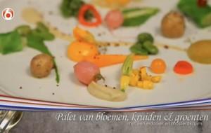 Vegetarisch hoofdgerecht: palet van bloemen, kruiden en groenten in het programma Menu van Oranje.